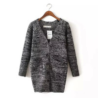 Long-Sleeve Pocket Button Knitted Long Cardigan