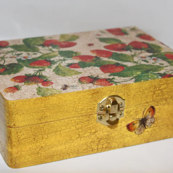 Wooden box - jewelry box - treasure box - keepsake box - decoupage box - wedding box - decorated box - strawberry box - aged box - decoupage