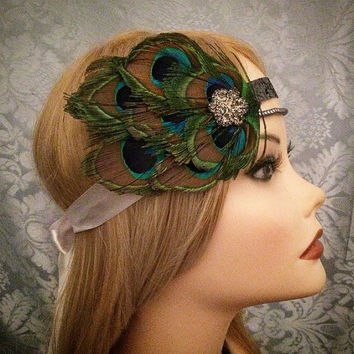 Peacock Flapper Roaring 20's Rhinestone Flower Black Blue Gray Glass Pearl Headband Art Deco Gatsby Head Piece 1920s 20s headpiece Band Hair