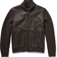 Loro Piana - Shawl-Collar Leather and Baby Cashmere Bomber Jacket