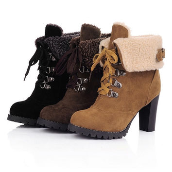 New 2015 Fashion Women High Heels Lace up Snow Boots winter Platform Pumps women Ankle Boots = 1946905284