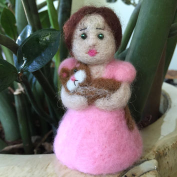 Needle felted girl with cat art girl and cat girl with kitten needle felted pink best friends kids room decor cat lover felt girl OOAK wool