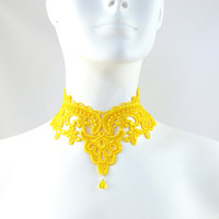 Yellow Lace Choker Necklace - Victorian Collar - Fun, Bright, Romantic, Handmade Jewelry - Bellydance, Summer, Costume