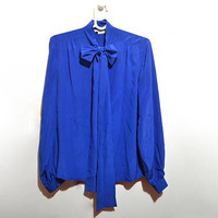 Blue Silk Pussybow Bow Blouse Vintage Button Up Womens Large L Solange Mondor