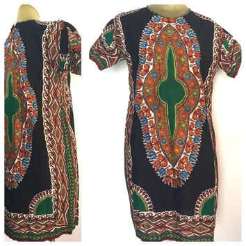 African Dashiki Dress, Long Dashiki Tunic, Green & Black Short Sleeve African Dress, Ethnic Bohemian African Print Dress Zip Back M Boho