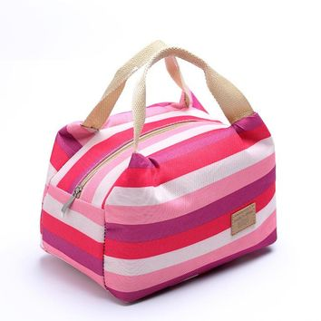 Insulated Lunch Box, Striped Lunch Tote Bag for Women, Men And Children, Meal Prep Cooler