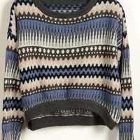 BlueBand — Tribal Print Blue Vintage Loose Sweater
