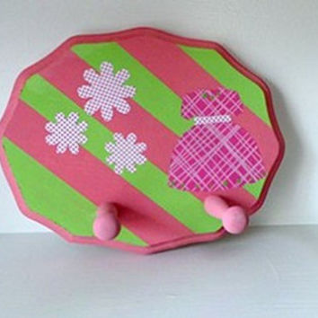 "Doll holder for American Girl or 18"" Doll. Hand painted and decorated in bright green and pink"