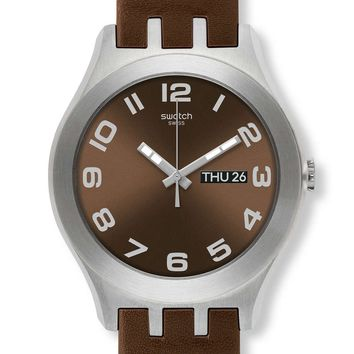 Swatch Irony Brown Classic Leather Strap Mens Watch YTS713