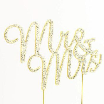 Mr and Mrs Script Gold Glitter Rhinestone Wedding Cake Topper