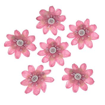 Paper Flower Clothespins Embellishment, 3-Inch, 6-Count, Pink