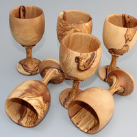 Set of 06 Olive Wood Cups / Olive Wood Handcrafted Goblets/ wooden wine glasses, Perfect for Wine, Coffee, Tea or Water, Wedding gift idea