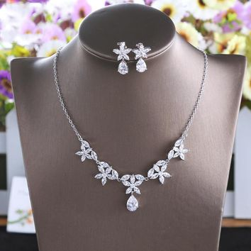 2018 Marquise Zircon Flower Jewelry Sets Trendy Korean Style Cubic Zirconia Necklace Choker Earrings Gifts Bridal Wedding Bijoux