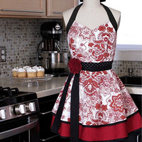Kitchen Apron Sweetheart Neckline Double Skirt by twodesigndivas