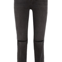 FRAME - Le High distressed mid-rise straight-leg jeans