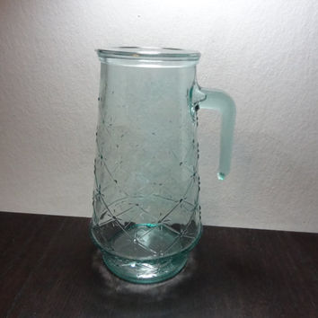 Vintage Atomic Starbust Aqua Glass Pitcher with a Raised Starburst and Criss Cross Design - Mid Century Modern - Made in Italy