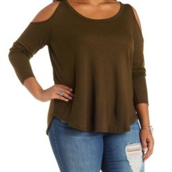 Plus Size Olive Waffle Knit Cold Shoulder Top by Charlotte Russe