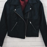 Dreamers Rose Embroidery Leather Moto Jacket