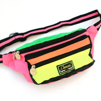 Rad 80s Neon Chenson Quad Neon Colorblock Fanny Pack - 28 to 32