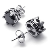 KONOV Jewelry Vintage Stainless Steel CZ Mens Royal Crown Stud Earrings Set, 2pcs, Black Silver