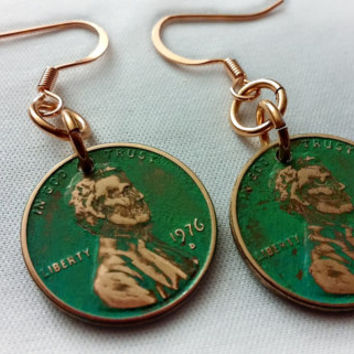 Penny Earrings, Green Patina Penny Earrings, Copper Earrings, 1976 Penny Earrings, Copper Penny Earrings, Lucky Penny ELEMENTS Collection