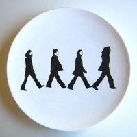 Abbey Road Inspired Beatles Silhouette Plate by aedrieloriginals