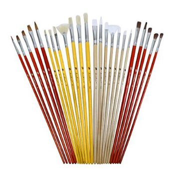 Daveliou Paint Brushes - 24 Brush Set - FREE Holder - 4 Hair 5 Head Shapes - Oil Acrylic Watercolor