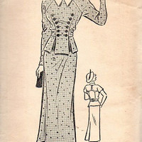 Rare 1930s Superior Sewing Pattern 542 Mail Order Sears 2948 Two Piece Dress Fitted Jacket Peplum Blouse Skirt Pristine Condition Bust 33