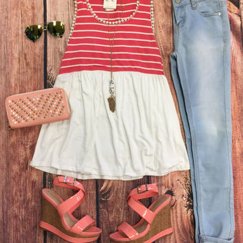 Ivy Striped Baby Doll Top: Coral
