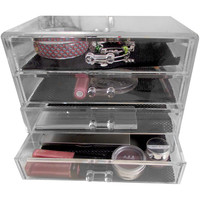 Evelots Clear 4 Drawer Cosmetic & Jewelry Organizer With Removable Drawers