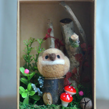 Woodland owl diorama, handmade bird figurine in forest shadow box, miniature needle felt owl doll, home decor ornament, gift under 30