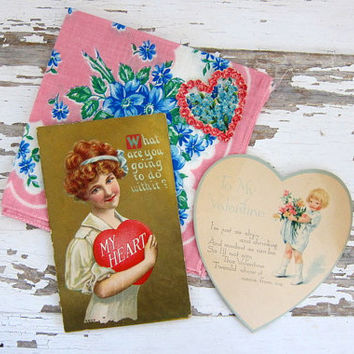 Vintage Floral Hankie, Ladies Handkerchief with Valentine's Day cards / sweetheart gift