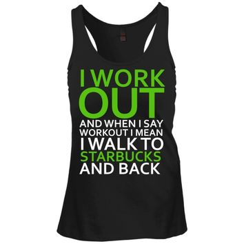 I Workout Starbucks Juniors Racerback