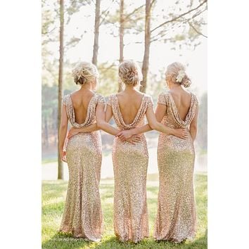 cap sleeves short sleeve mermaid Bridesmaid Dresses Sequin shine bling bridesmaid dresses gold sliver vestido de dama de honra