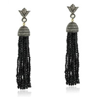 Gold  Diamond Tassel Earrings