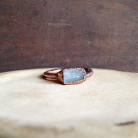 Kunzite Chip Ring  - Bohemian Ring - Unique Ring - Raw Stone Ring - Semiprecious Stone Ring - SIZE 5.5
