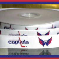 7/8 inch Custom Made Washington Capitals Grosgrain by JLRibbonGear