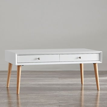 HomeBelle White Two-Drawer Coffee Table | zulily