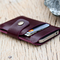 Mini purple leather iphone wallet case by SakatanLeather on Etsy