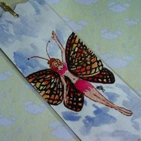 Butterfly Fairy watercolor bookmark original by enchantedcraft