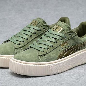 DCCKIJ2 Puma Rihanna Casual Suede Creeper Flatform Shoes Green