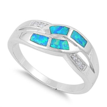 925 Sterling Silver CZ Abstract Infinity Lab Blue Opal Ring 7MM