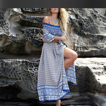Beach chest wrapped dress women new summer dress long paragraph fashion retro print dress one pieces