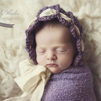 Crochet Pattern for Ashlyn Baby Bonnet Hat - 6 sizes, preemie/doll to child size - Welcome to sell finished items