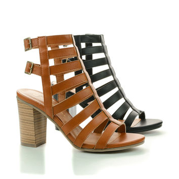 Jamie09 Open Toe Gladiator Strappy Back Buckle Chunky Heel Sandals