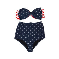 Retro Style Red Striped & Anchor Print Bow Bandeau High Waisted Bikini!