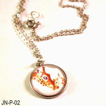 Giraffe Pendant on a  Chain Necklace, Handmade Necklace with Mother Baby Giraffe, Fashion Jewelry