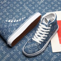 Supreme x Louis Vuitton x Vans Denim Skateboarding Shoes 35-44