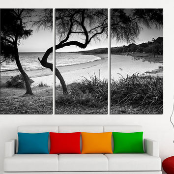 Large Wall Art Canvas Ocean Beach and Tree Print - 3 Panel Ocean Landscape Canvas Painting