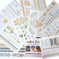 Ultimate Collection Metallic Tattoos Gold and Silver Flash By Modern Boho